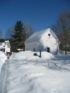 barn with snow